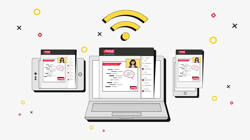 Онлайн-курс, телефон, компьютер, планшет, рисунок