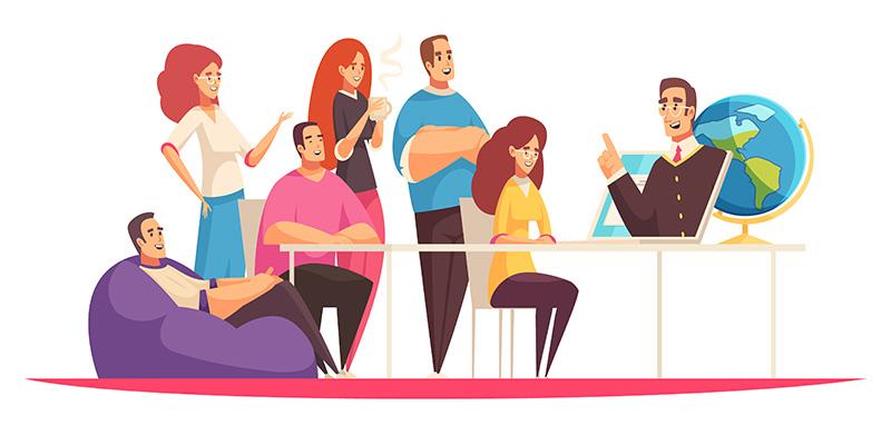 Люди учат язык онлайн, рисунок