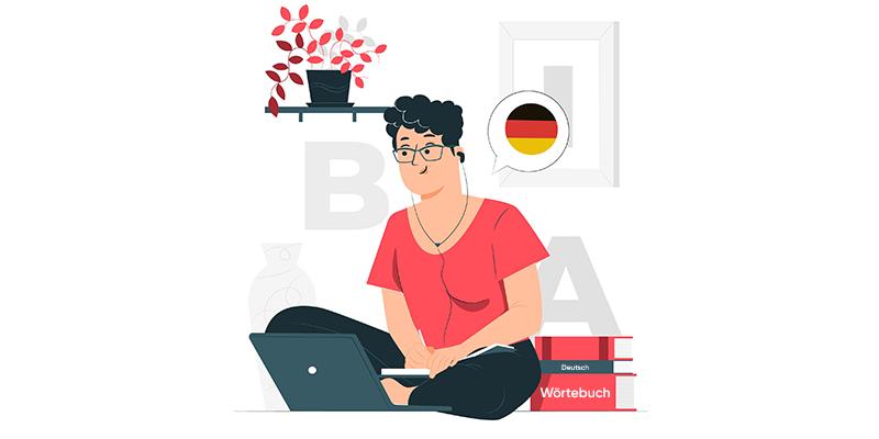 Девушка учит язык онлайн, рисунок