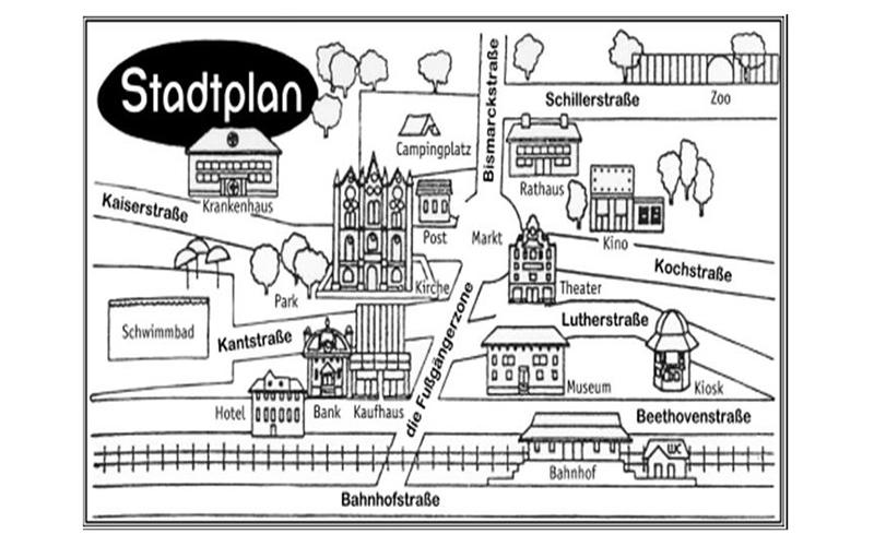 План города на немецком, рисунок