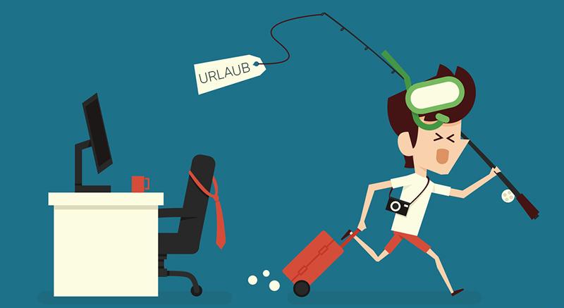Человек сбегает с работы в отпуск, рисунок