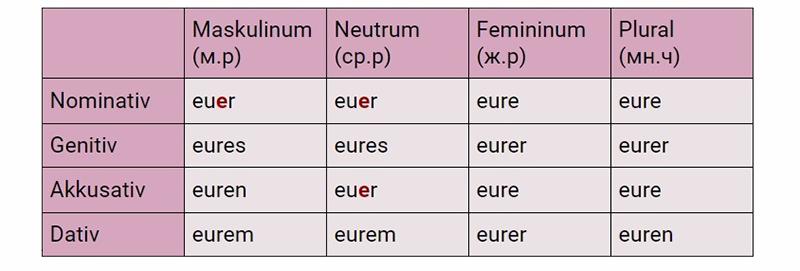 Склонение местоимения euer