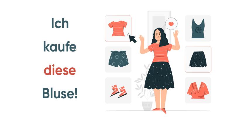 Девушка выбирает одежду, рисунок