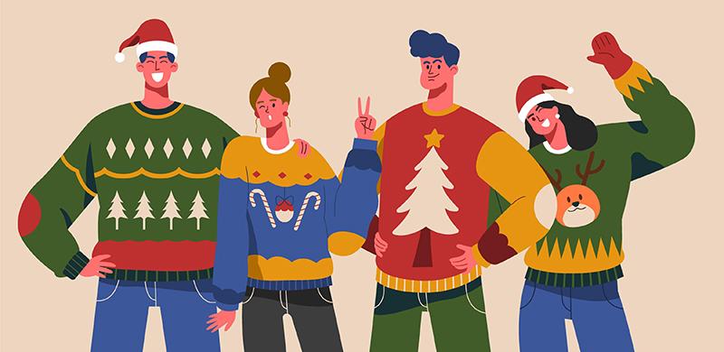 Люди в новогодней одежде, рисунок