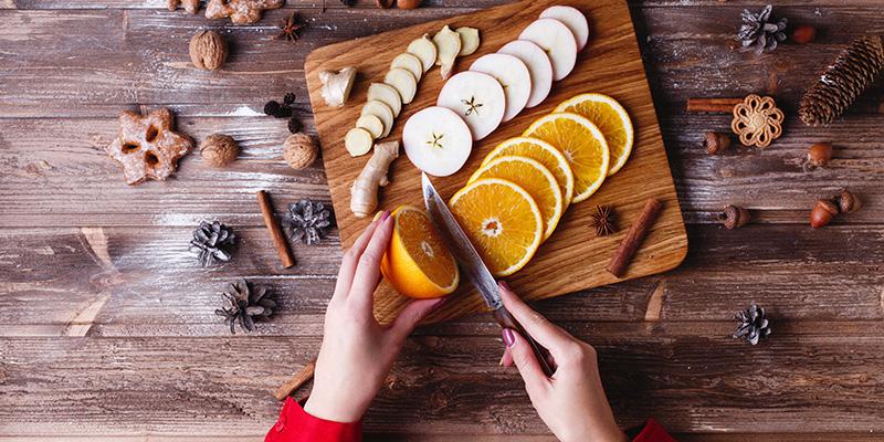 Специи и фрукты, нарезка, фото