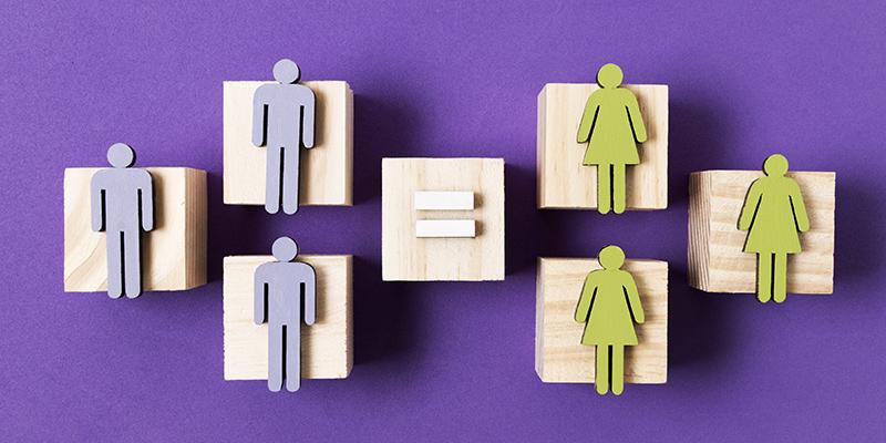 Равенство полов, деревянные фигурки, картинка