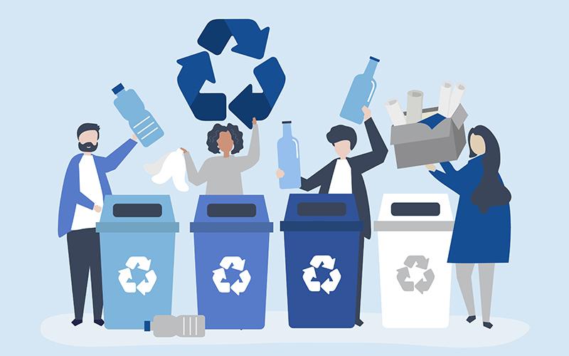 Сортировка мусора, рисунок