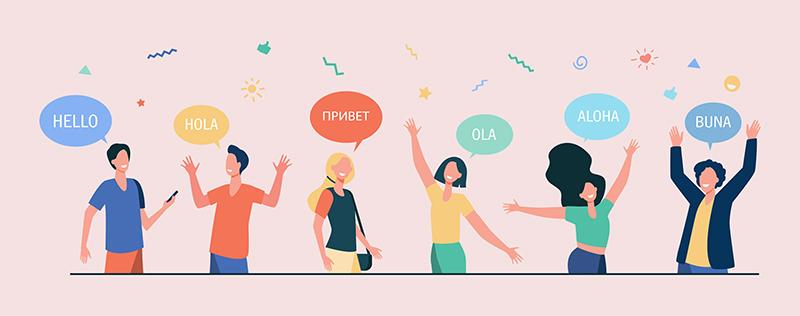Люди говорят привет на разных языках, рисунок