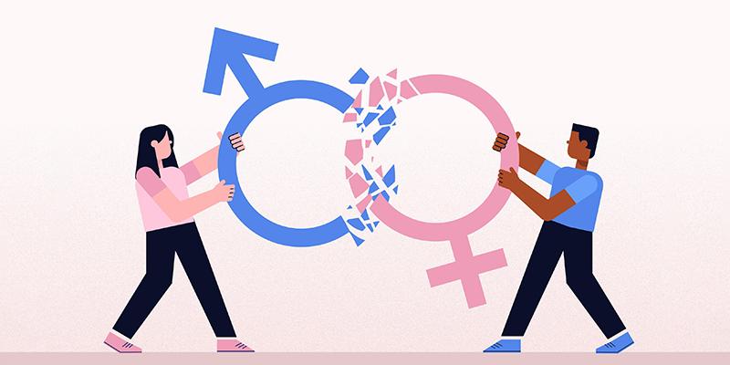 Мужчина и женщина разрушают гендерные стереотипы, рисунок