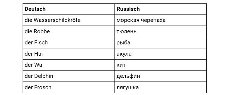 Морские животные на немецком, таблица