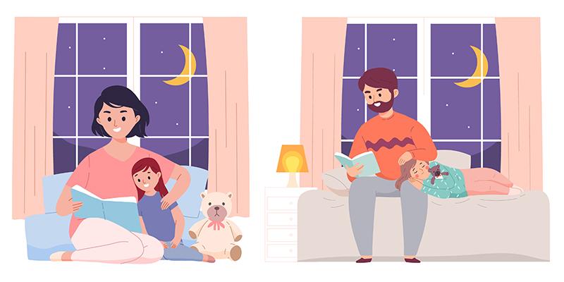 Родители читают детям на ночь, рисунок