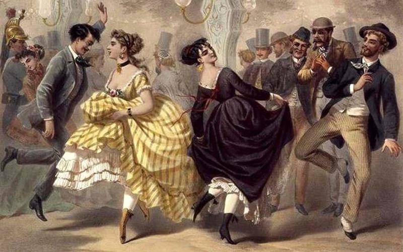 Люди танцуют польку, рисунок