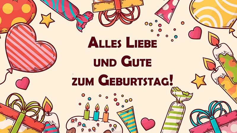 Открытка с пожеланием в День рождения на немецком