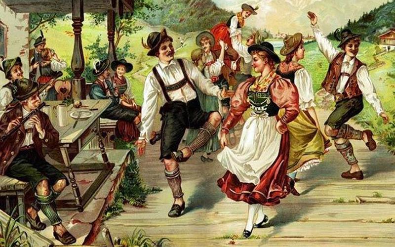 Люди танцуют в национальных немецких костюмах, рисунок