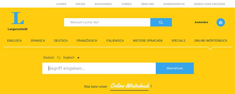 Словарь Langenscheidt онлайн, снимок экрана