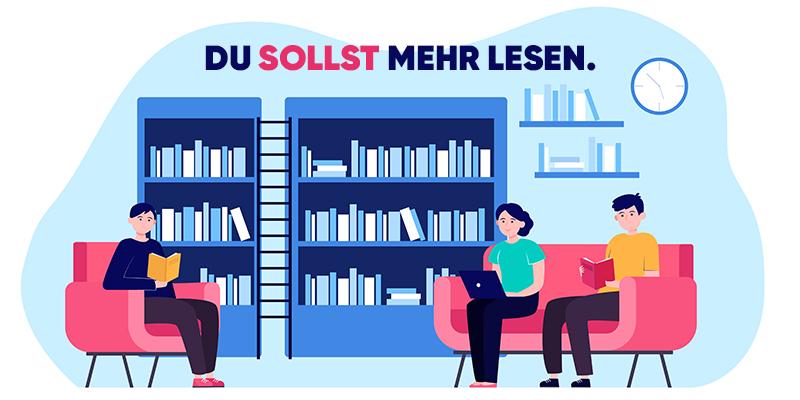 Люди читают в библиотеке, рисунок