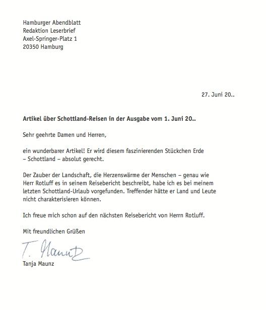как правильно писать письмо на немецком языке образец